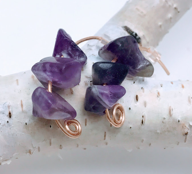 Amethyst on Rose Gold Earrings $30