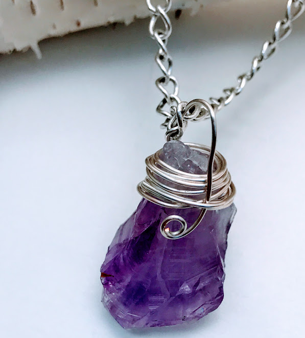 Raw Amethyst Point Hand-Wrapped with Silver Wire