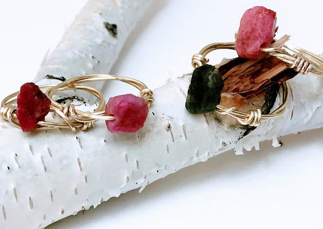 Wire Wrapped Raw Emeralds and Rubies