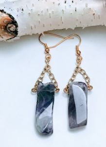 Natural Stone Earrings Amethyst Dangle Earrings $23