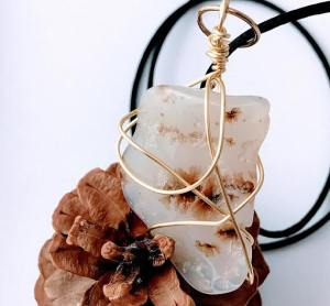 Natural Stone Necklaces Dendrite Agate $30