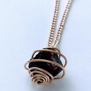 Wire Cage With Natural Garnet $38