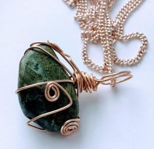 Hand Wrapped Greenlace Agate Necklace $38