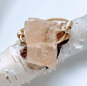 Honey Calcite Wire Wrapped Ring $15