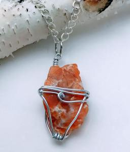 Orange Calcite Silver Necklace $28