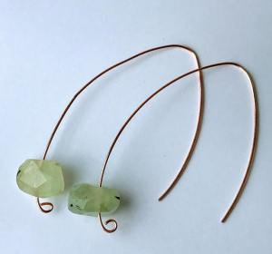Prehnite Threader Earrings Natural Stone Earrings $30