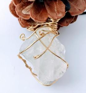 Hand Wrapped Quartz Necklace $28