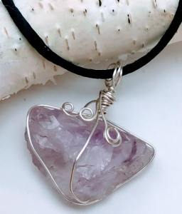 Raw Amethyst Hand Wrapped Necklace $23