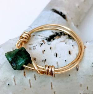 Hand Made Natural Stone Ring Emerald $36