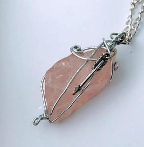 Natural Stone Rose Quartz Wrapped Pendant $28
