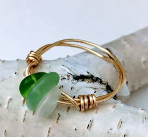 Natural Stone Rings Wire Ring With Natural Sea Glass $28