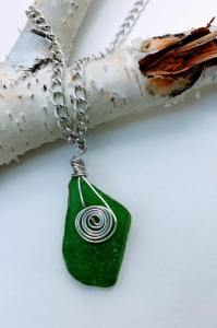 Silver Wrapped Sea Glass Necklace $24