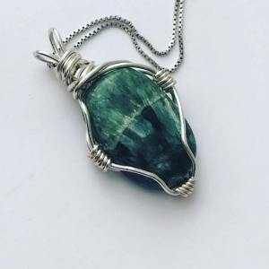 Natural Stone Seraphinite Hand Wrapped Necklace $48