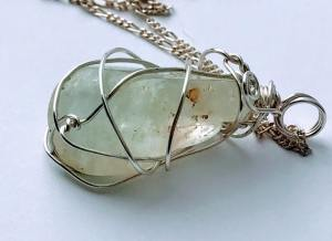 Natural Stone Necklaces Wire Wrapped Topaz $48