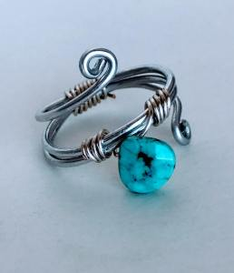 Hand Made Silver Turquoise Ring $15