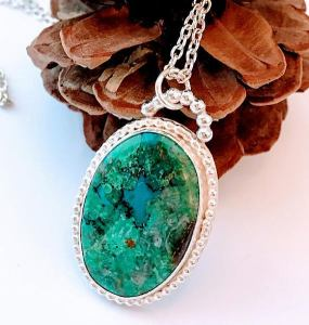 Chrysoprase Natural Stone Necklace $95
