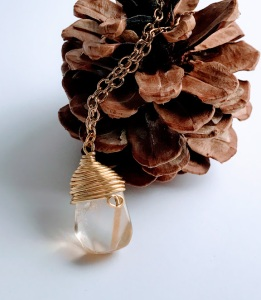 Wire Wrapped Raw Citrine Necklace $28