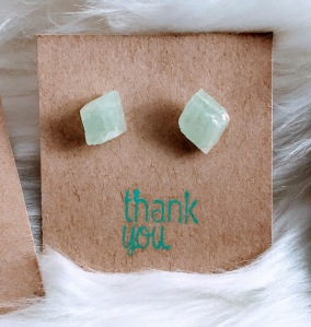 Green Calcite Stud Earrings $28