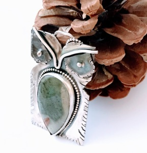 Green Jasper Owl Necklace $95