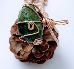Green Lace Agate Necklace $32