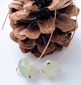 Prehnite Threader Earrings $30